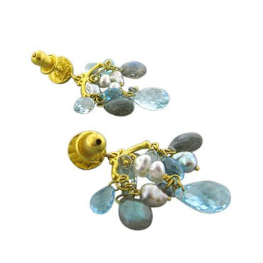 thumbnail image of New Gurhan Confetti 24k Gold Topaz Sapphire Keshi Pearl Drop Earrings