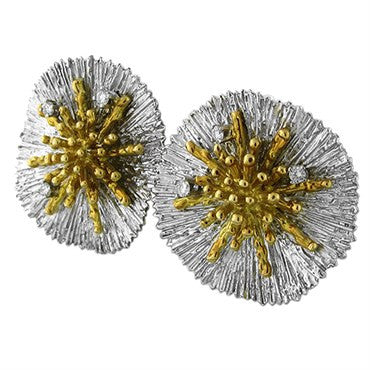 thumbnail image of Asprey 18K Yellow And White Gold Diamond Earrings