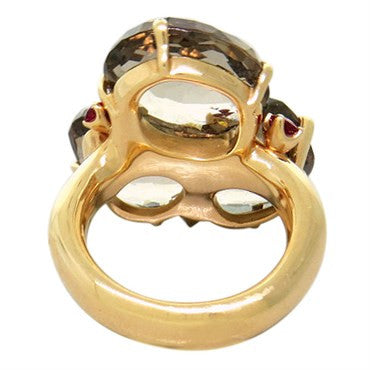 thumbnail image of Pomellato Bahia Gold Smokey Quartz Ruby Ring