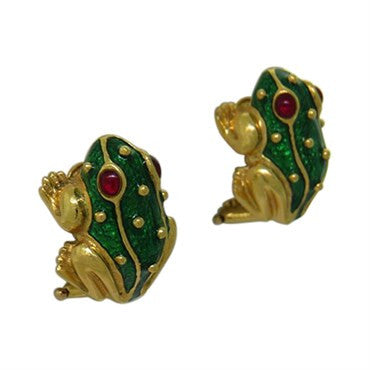 thumbnail image of Hidalgo 18K Gold Ruby Enamel Frog Earrings