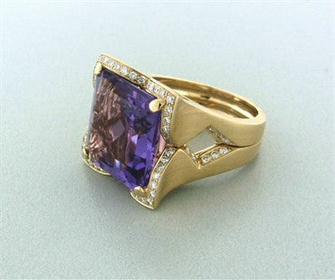 thumbnail image of Rayner 18K Yellow Gold Amethyst Diamond Ring