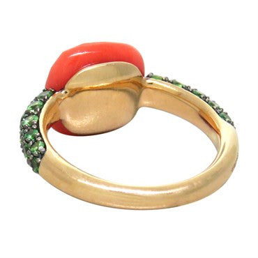 image of New Pomellato Capri Coral Tsavorite 18k Gold Ring