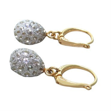 thumbnail image of New Pomellato Tabou 18k Gold Silver White Topaz Earrings