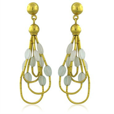 image of New Gurhan 24K Gold Milky Aquamarine Drop Earrings