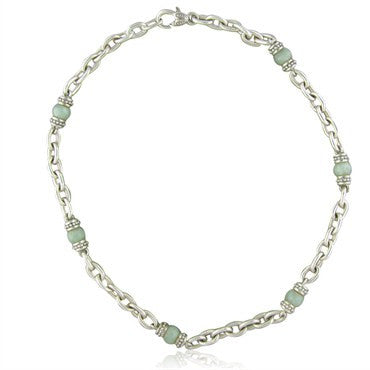 image of Judith Ripka Sterling Silver Light Green Stone Chain Necklace