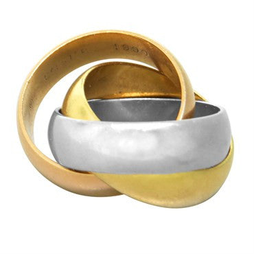 Cartier Trinity 18k Gold Tri Color Wide Rolling Band Ring Size 42