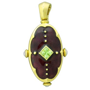 image of New Victor Mayer Faberge Maker 18k Gold Pearl Peridot Locket Pendant