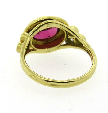 thumbnail image of Temple St. Clair Pink Tourmaline Diamond 18k Gold Ring