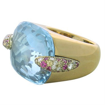 thumbnail image of New Pomellato Pin Up 18k Gold Diamond Topaz Ring