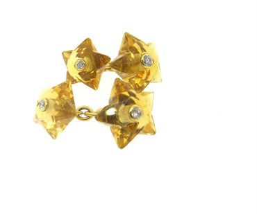 thumbnail image of Seaman Schepps Citrine Diamond Star Cufflinks Stud Set