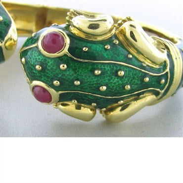 image of Estate Hidalgo 18k Gold Ruby Enamel Frog Cuff Bracelet