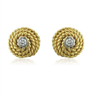 image of Tiffany & Co 18K Yellow Gold Rope Diamond Stud Earrings
