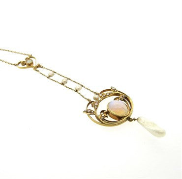 image of Victorian Natural Pearl Opal 14k Gold Pendant Necklace