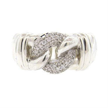 image of David Yurman Sterling Silver Diamond Buckle Ring