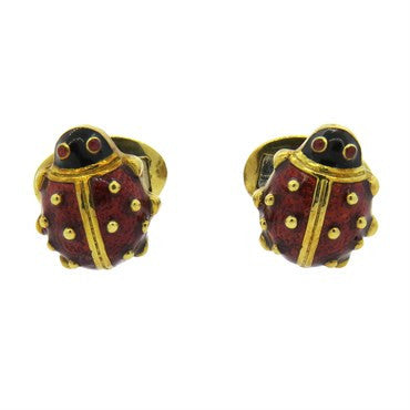 image of Hidalgo Red Enamel Garnet Gold Ladybug Cufflinks