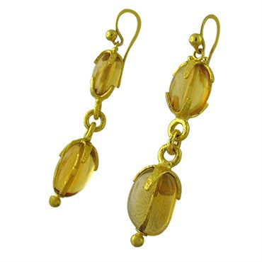 thumbnail image of New Gurhan Star 24K Gold Golden Citrine Drop Earrings