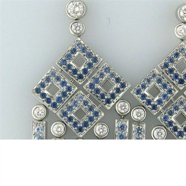thumbnail image of Tiffany & Co Platinum Diamond Sapphire Diamond Earrings