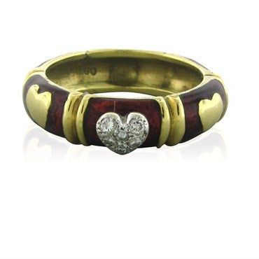 thumbnail image of Hidalgo 18K Yellow Gold Red Enamel Diamond Heart Band Ring