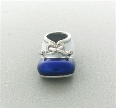 thumbnail image of Felix Vollman 18k Gold Blue and White Enamel Baby Shoe Charm Pendant