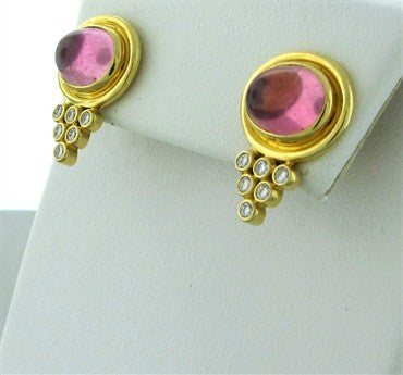 thumbnail image of New Temple St. Clair 18K Gold Pink Tourmaline Diamond Earrings