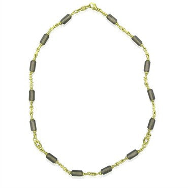 image of Judith Ripka 18K Yellow Gold Diamond Smokey Topaz Necklace