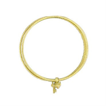 thumbnail image of Judith Ripka 18k Charm Diamond Tri Bangle Bracelet