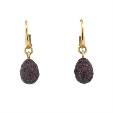 thumbnail image of Pomellato Tabou 18k Gold Burnished Silver Rhodolite Earrings