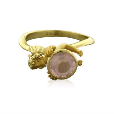 thumbnail image of New Carrera Y Carrera Angelitos 18K Gold Pink Quartz Ring