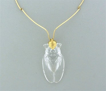 image of Rare Vintage Steuben Glass 14K And 18K Gold Cicada Pendant Necklace