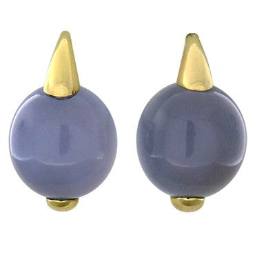 image of New Pomellato Luna 18k Gold Chalcedony Earrings