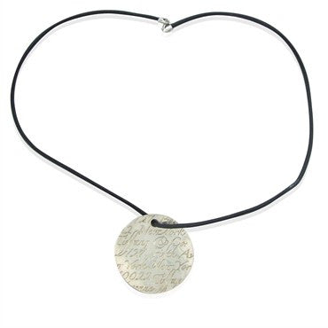 image of Tiffany & Co Notes Collection Sterling Silver Leather Cord Necklace