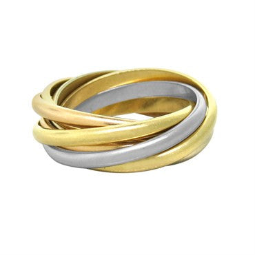 Cartier Trinity 18k Gold Tri Color 7 Rolling Band Ring Size 42
