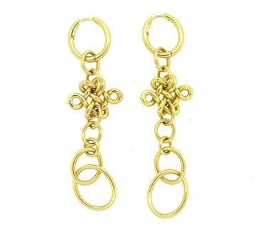 image of H Stern Diane von Furstenberg Long Gold Drop Earrings
