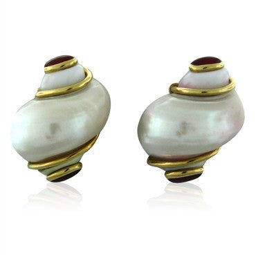 thumbnail image of Seaman Schepps 18K Yellow Gold Seashell Ruby Cabochon Earrings