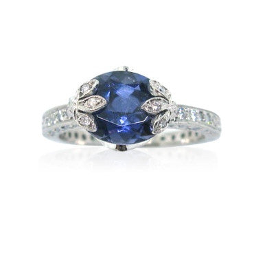 image of Cathy Waterman Platinum Iolite Diamond Ring