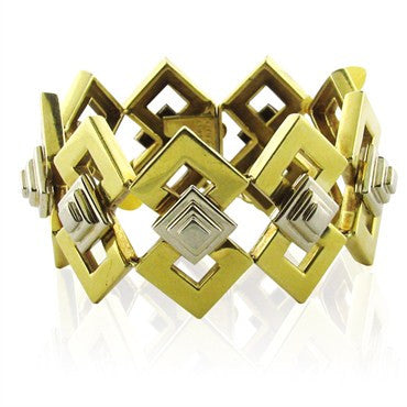 image of Vintage Tiffany &Co 18k Gold Bracelet Geometric Pattern