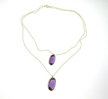 thumbnail image of Renee Lewis Amethyst 18k Gold Double Pendant Necklace