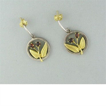 thumbnail image of Tiffany & Co Sterling Silver 18k Gold Garnet Earrings
