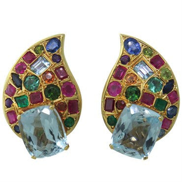 image of Impressive Multicolor Gemstone Gold Earrings