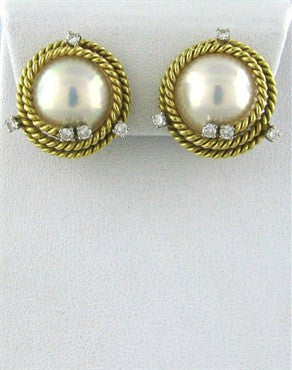 image of Tiffany & Co Jean Schlumberger Rope Pearl Diamond Earrings