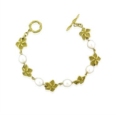 thumbnail image of Tiffany & Co 18k Yellow Gold Pearl Flower Bracelet