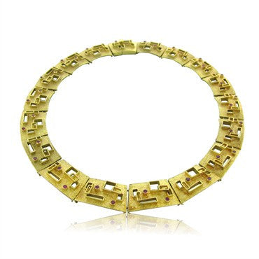 image of Funky Modernist 1970s 18k Yellow Gold Ruby Necklace 104g