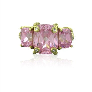 thumbnail image of Judith Ripka 18K Yellow Gold Rose Quartz Diamond Ring
