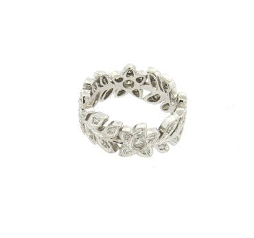 image of 18k Gold Diamond Flower Leaf Motif Band Ring