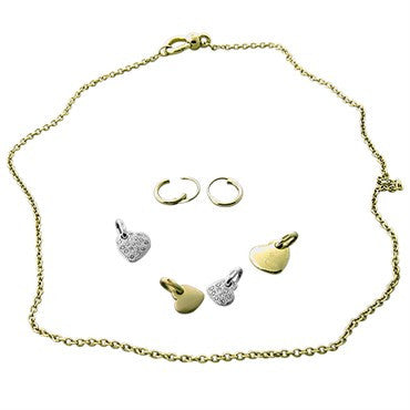 thumbnail image of New Pomellato 18k Gold Diamond Heart Pendant Necklace Earrings Set