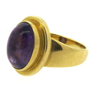 image of Georg Jensen 18k Gold Amethyst Cabochon Ring