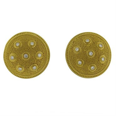 image of Reinstein Ross 22k Gold Diamond Tuscan Earrings