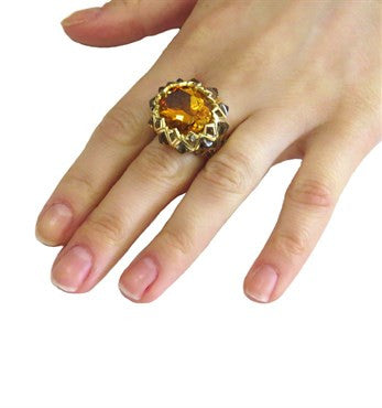 image of Stephen Webster Limited Edition Armadillo Citrine Quartz 18k Gold Ring