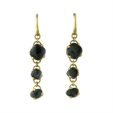 image of New Pomellato Capri 18k Gold Onyx Quartz Drop Earrings
