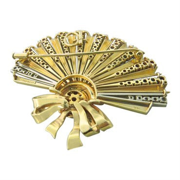 thumbnail image of Retro Sapphire Ruby Diamond 18K Gold Fan Brooch Pendant
